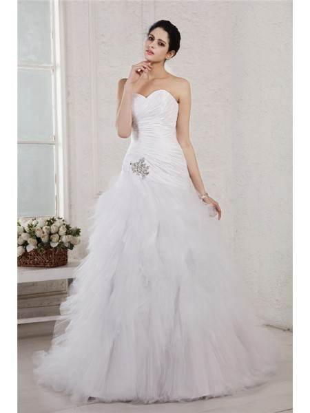 Fashion A-Line/Princess Sleeveless Applique Sweetheart Long Taffeta Net Wedding Dresses