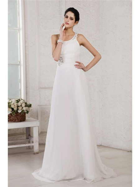 Stylish A-Line/Princess Sleeveless Beading One-Shoulder Applique Long Chiffon Wedding Dresses