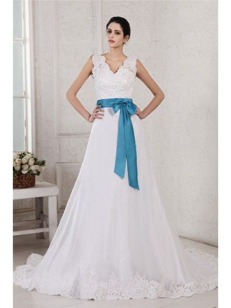 Fashion A-Line/Princess Sleeveless Applique V-neck Sash Long Organza Satin Wedding Dresses