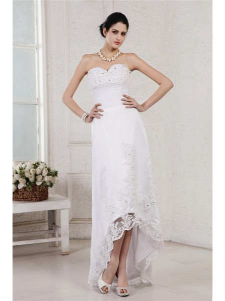 Fashion Sheath/Column Sleeveless Beading Sweetheart Applique High Low Organza Wedding Dresses
