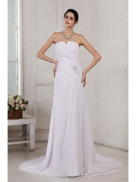 Fashion Sheath/Column Sleeveless Beading Strapless Applique Pleats Long Chiffon Wedding Dresses