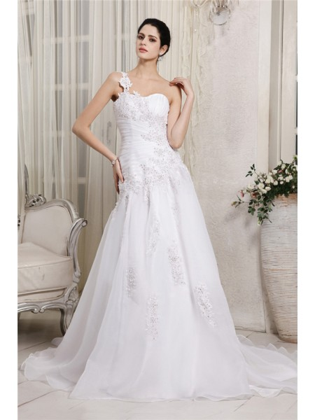 Fashion A-Line/Princess Sleeveless Beading One-Shoulder Applique Long Organza Wedding Dresses