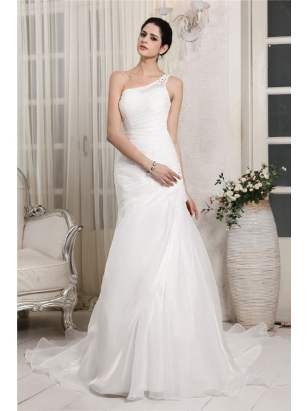 Stylish Trumpet/Mermaid Sleeveless Beading One-Shoulder Applique Long Organza Wedding Dresses