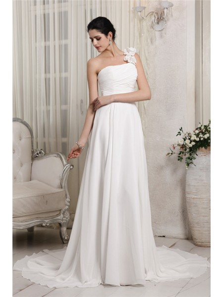 Fashion Sheath/Column Sleeveless Ruffles One-Shoulder Long Chiffon Wedding Dresses