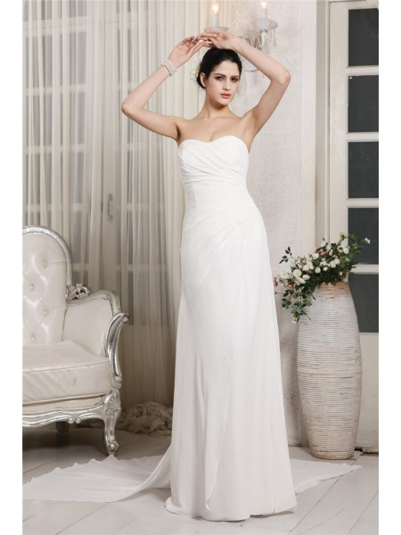 Stylish Sheath/Column Sleeveless Ruffles Sweetheart Long Chiffon Wedding Dresses