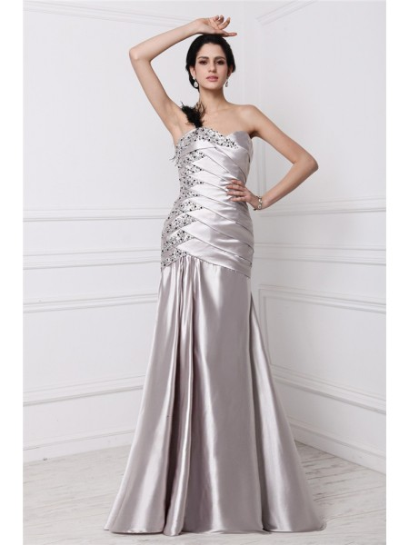 Fashion A-Line/Princess Sleeveless Beading Sweetheart Pleats Long Elastic Woven Satin