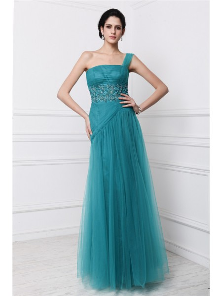 Stylish Sheath/Column Sleeveless Beading One-Shoulder Applique Long Net Dresses