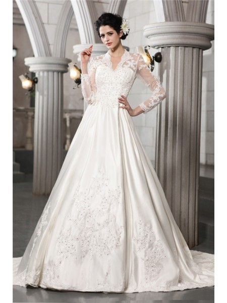 Fashion A-Line/Princess Beading Applique Long Sleeves Long Satin Wedding Dresses