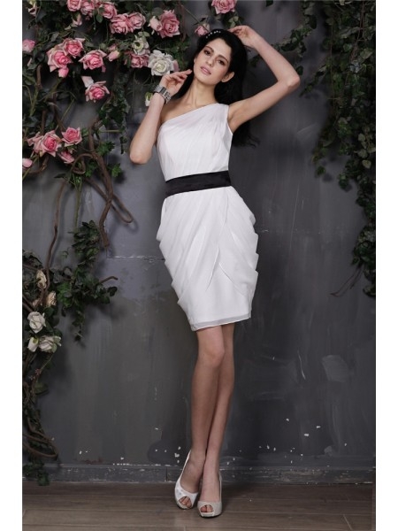 Stylish Sheath/Column Sleeveless Pleats One-Shoulder Short Chiffon Cocktail Dresses
