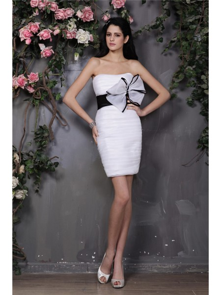 Fashion Sheath/Column Sleeveless Bowknot Strapless Pleats Short Organza Cocktail Dresses