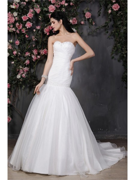 Stylish Trumpet/Mermaid Sleeveless Beading Sweetheart Pleats Ruffles Long Organza Wedding Dresses