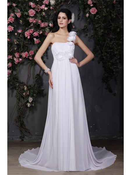 Fashion A-Line/Princess Sleeveless Hand-Made One-Shoulder Flower Ruffles Long Chiffon Wedding Dresses