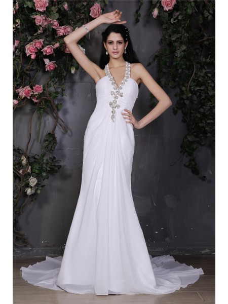 Fashion Sheath/Column Sleeveless Beading Halter Ruffles Long Chiffon Wedding Dresses
