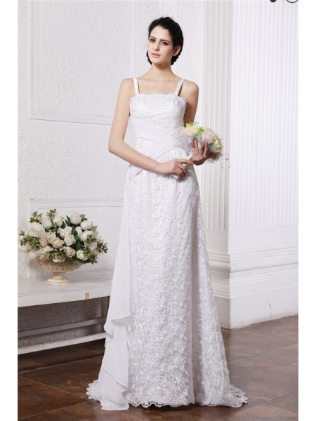 Fashion Sheath/Column Neck Sleeveless Square Ruffles Ruched Long Chiffon Net