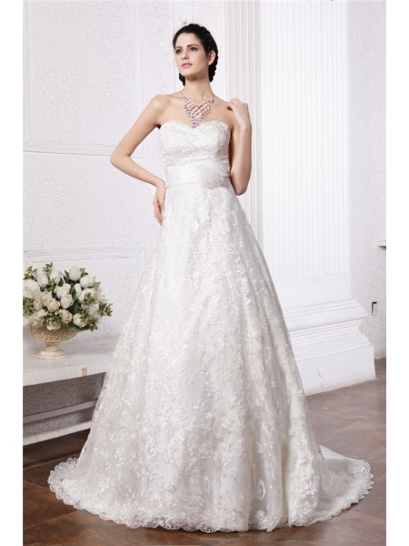 Fashion A-Line/Princess Sleeveless Sash Sweetheart Long Lace Wedding Dresses