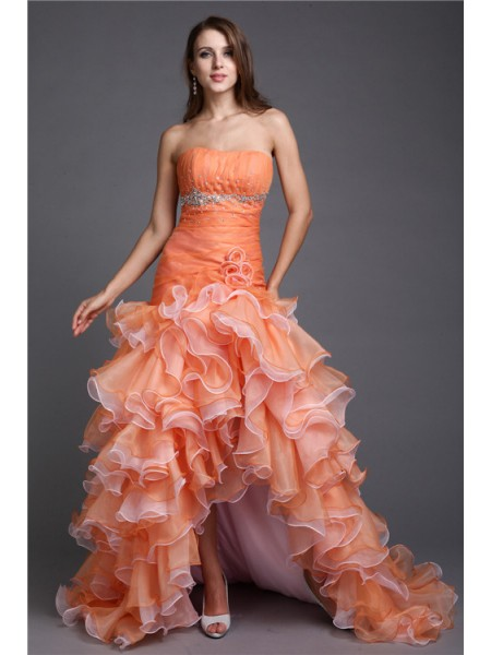 Fashion Ball Gown Beading Sleeveless Strapless High Low Organza Cocktail Dresses