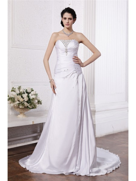 Fashion A-Line/Princess Sleeveless Beading Strapless Ruffles Long Silk like Satin