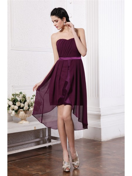 Stylish Sheath/Column Sleeveless Sash Strapless Pleats High Low Chiffon Cocktail