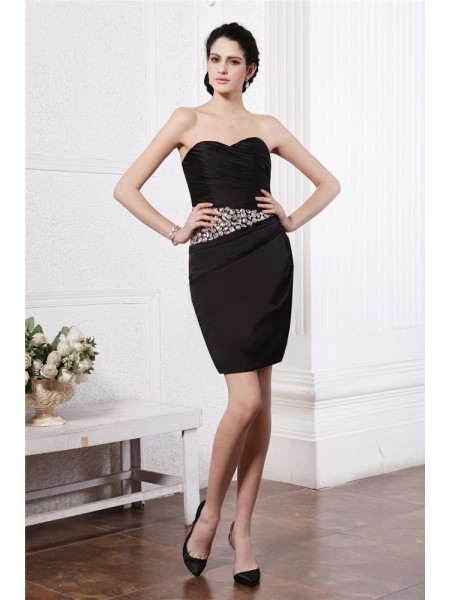 Fashion Sheath/Column Sleeveless Beading Sweetheart Pleats Short Chiffon Damask Cocktail