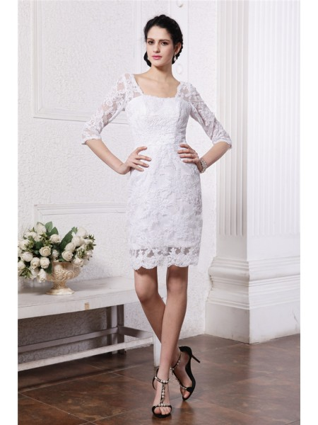 Stylish Sheath/Column Sleeves Bateau Half Short Lace Wedding Dresses