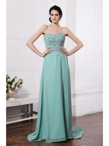 Fashion Sheath/Column Sleeveless Rhinestone Sweetheart Beading Long Chiffon Dresses