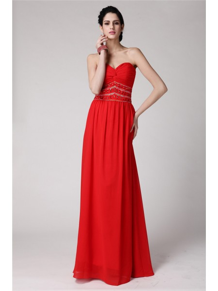 Stylish Sheath/Column Sleeveless Beading Sweetheart Pleats Long Chiffon Dresses