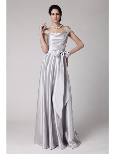 Stylish Sheath/Column Sleeveless Sash Off-the-Shoulder Long Elastic Woven Satin Dresses