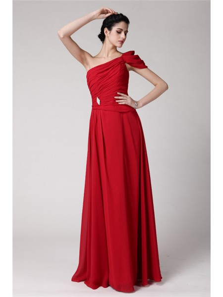 Fashion Sheath/Column Sleeveless Pleats One-Shoulder Long Chiffon Dresses