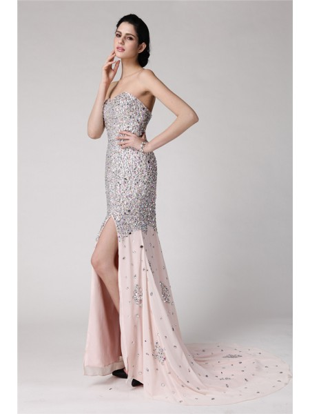 Fashion Trumpet/Mermaid Sleeveless Beading Sweetheart Rhinestone Long Chiffon Dresses