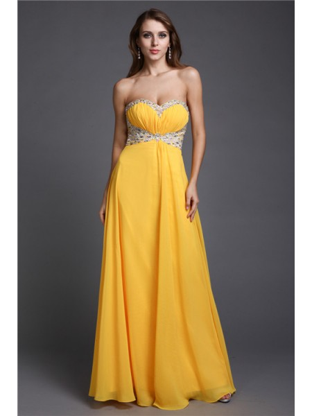 Stylish A-Line/Princess Sweetheart Beading Sleeveless Long Chiffon Dresses