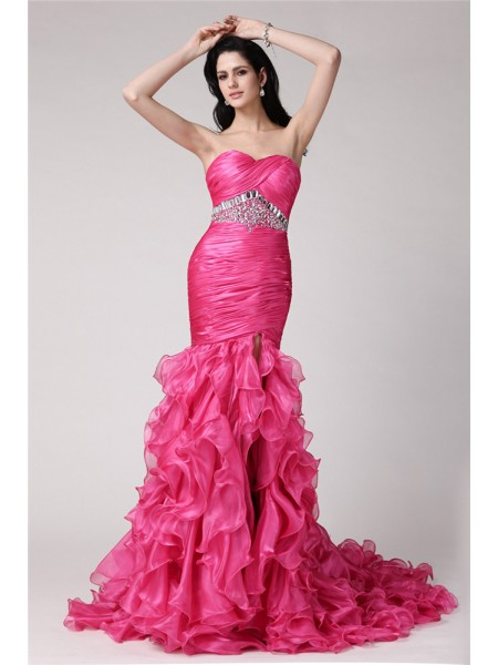 Fashion Trumpet/Mermaid Sleeveless Rhinestone Sweetheart Long Organza Dresses