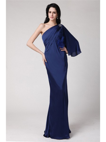 Fashion Trumpet/Mermaid Long Feather One-Shoulder Chiffon Damask Dresses