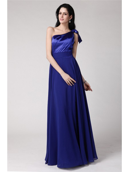 Stylish A-Line/Princess Sleeveless Long One-Shoulder Pleats Elastic Woven Satin Chiffon