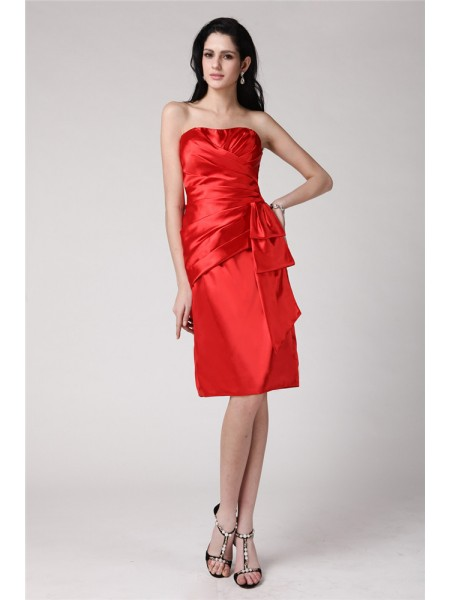 Stylish Sheath/Column Sleeveless Pleats Strapless Short Elastic Woven Satin Cocktail