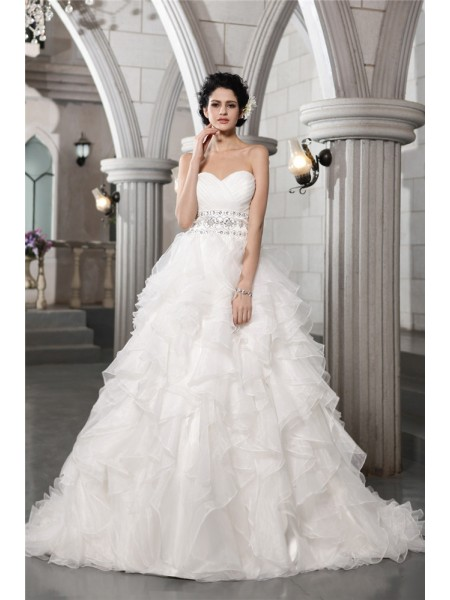 Fashion Ball Gown Sleeveless Beading Sweetheart Long Organza Wedding Dresses