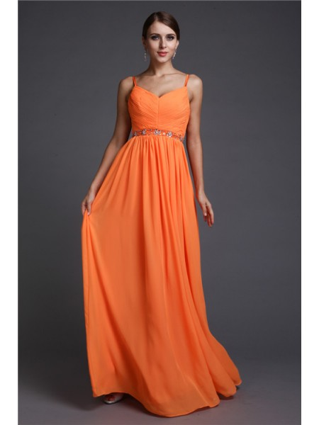Fashion A-Line/Princess Straps Sleeveless Spaghetti Beading Long Chiffon Dresses