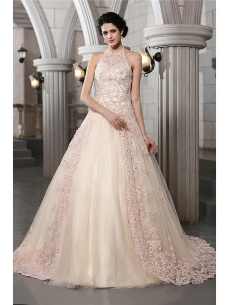 Fashion A-Line/Princess Sleeveless Beading High Neck Applique Long Net Wedding Dresses