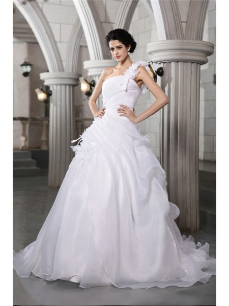 Fashion Ball Gown Sleeveless Pleats One-Shoulder Long Organza Wedding Dresses