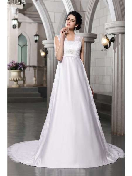 Stylish A-Line/Princess Lace Long Sleeveless Satin Wedding Dresses