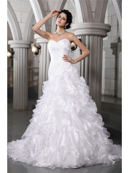 Fashion A-Line/Princess Sleeveless Pleats Sweetheart Beading Long Organza Wedding Dresses