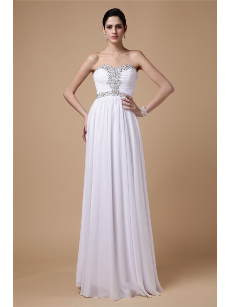 Fashion Sheath/Column Sleeveless Beading Strapless Pleats Long Chiffon Dresses