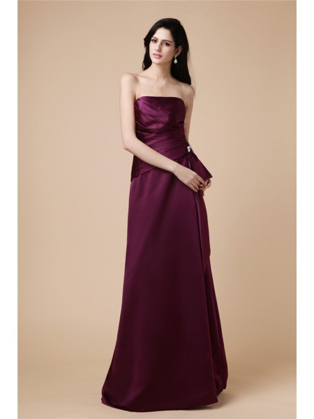 Stylish A-Line/Princess Sleeveless Beading Strapless Pleats Long Satin Dresses