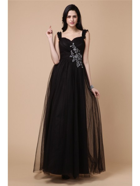Stylish A-Line/Princess Sleeveless Beading Straps Applique Net Dresses