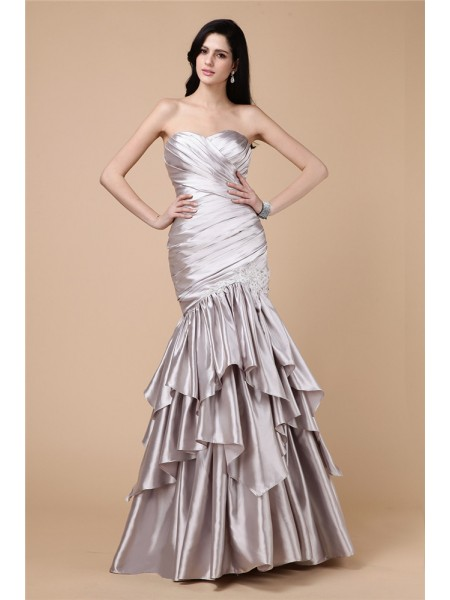 Fashion Trumpet/Mermaid Sleeveless Pleats Strapless Long Elastic Woven Satin Dresses