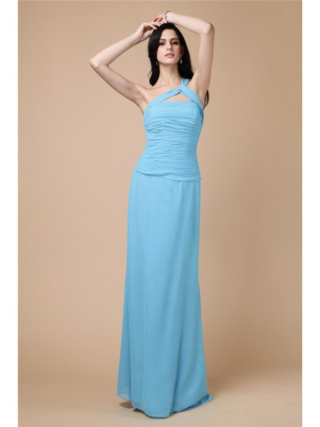 Stylish Sheath/Column Sleeveless Pleats One-Shoulder Long Chiffon Dresses