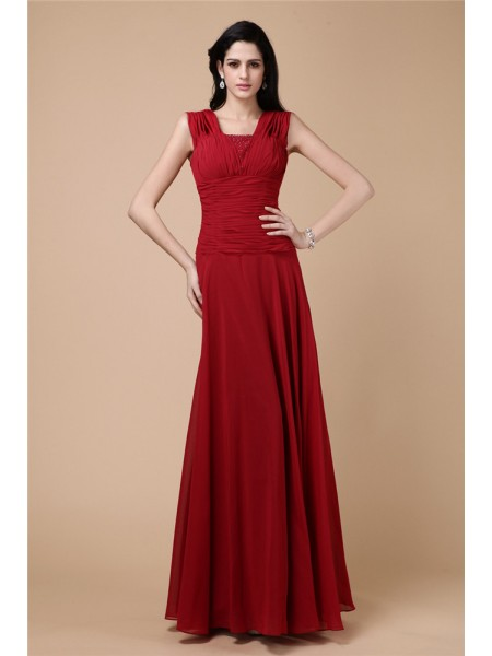 Fashion Sheath/Column Pleats Long Beading Chiffon Dresses