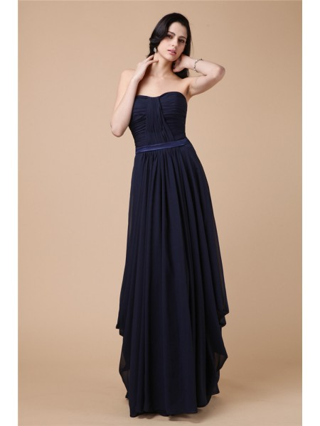 Stylish Sheath/Column Sleeveless Pleats Strapless Long Chiffon Dresses