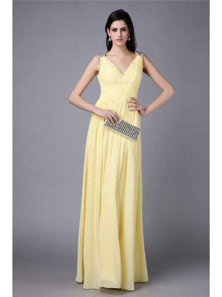Fashion Sheath/Column Sleeveless Beading V-neck Long Chiffon Dresses