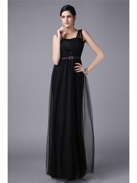 Fashion Sheath/Column Sleeveless Sash Straps Long Net Dresses