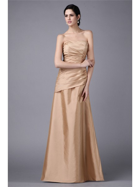 Stylish Sheath/Column Sleeveless Pleats Strapless Long Taffeta Dresses